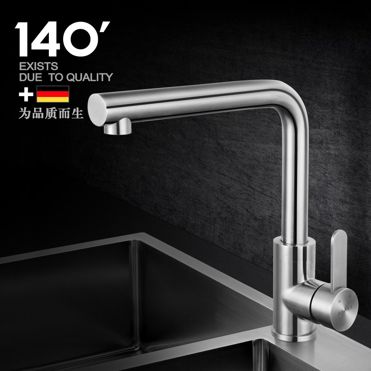 Assas unleaded 304 stainless steel kitchen sink full of hot and cold taps universal rotation vegetables basin sink