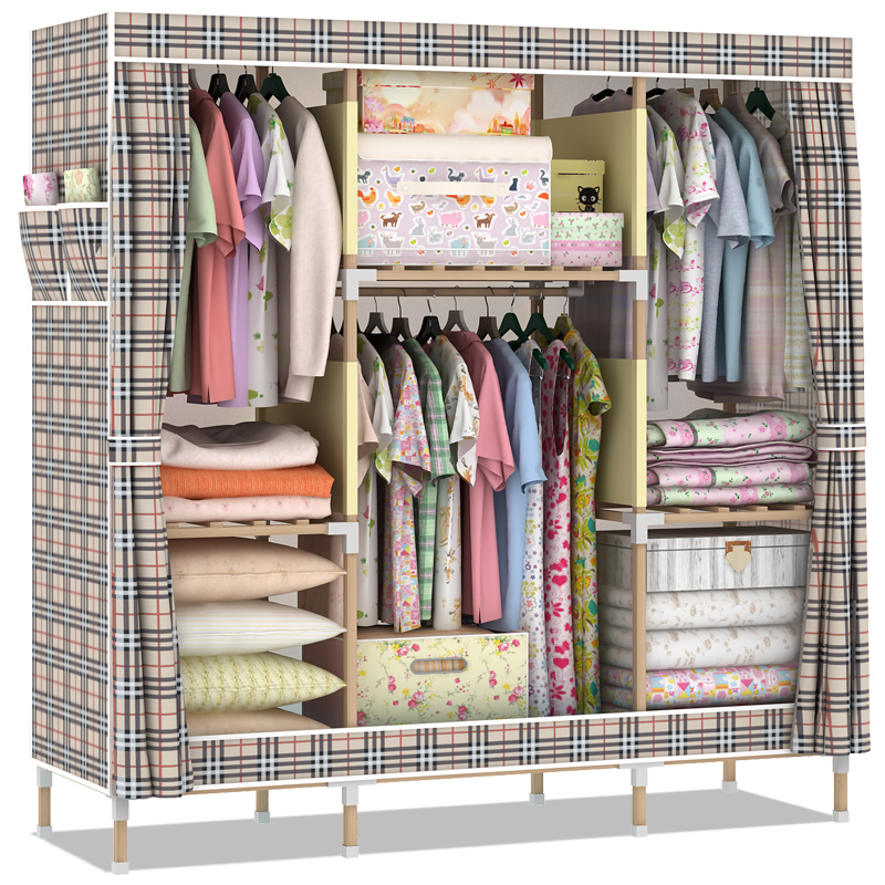 Assembly Disassembly Simple Wardrobe Cloth Wardrobe Wood Wardrobe Closet  Queen Cloth Hanging Clothes Storage Cabinets Cabinet