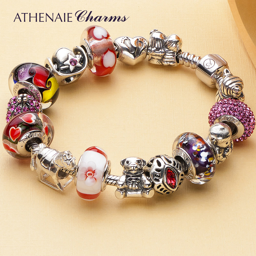 Athenaie childhood memories of colorful crystal glass beads diy 925 silver bracelet to send his girlfriend finished yi gu