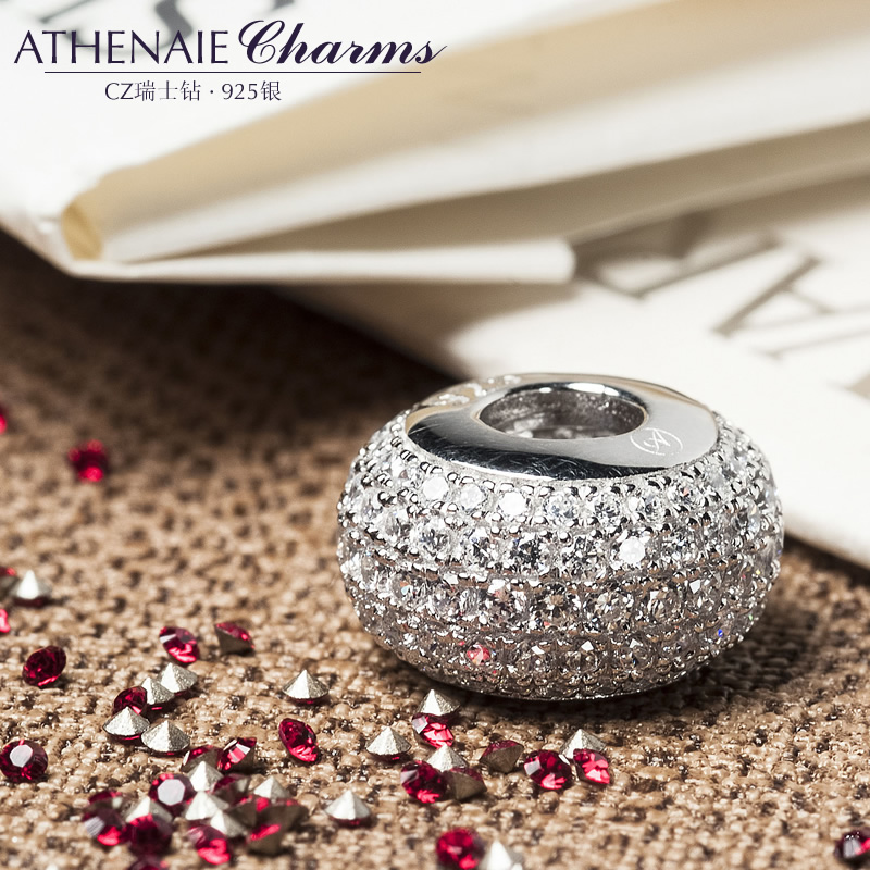 Athenaie craft pavé shining 3a zircon 925 silver rhodium silver beads transfer beads to send his girlfriend