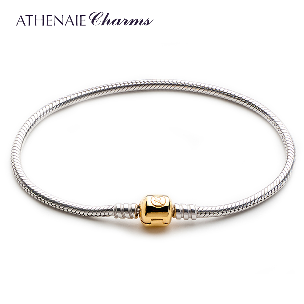 Athenaie shiny round snake chain 925 silver rhodium plated 100ç²antioxidant 18kt gold buckle diy basis hand chain