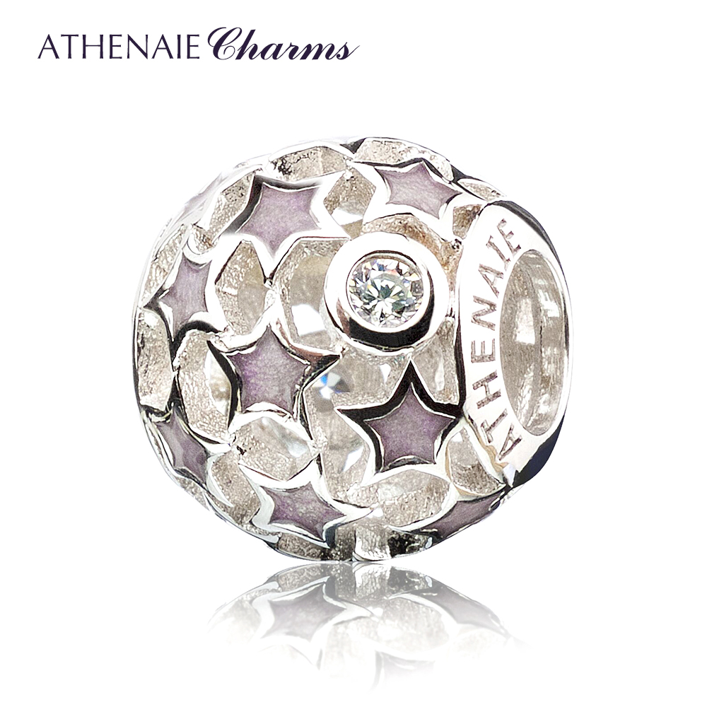 Athenaie starry purple enamel diamond 925 silver beads take a basic bracelet bracelet couple female models gift