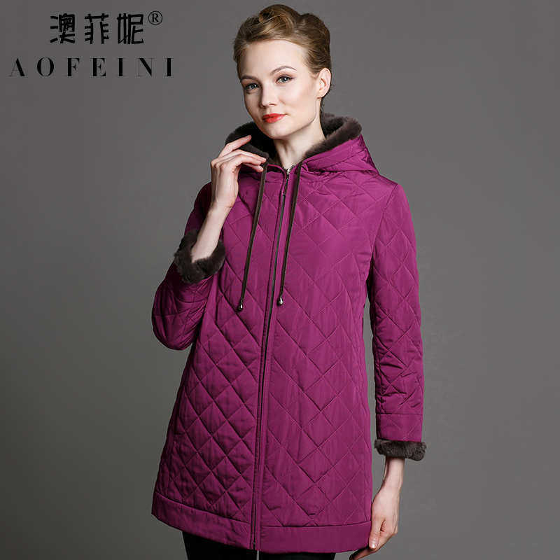 Australia fei ni middle-aged fashion plaid hooded padded jacket mother dress coat female middle-aged woman with velvet padded warm woman