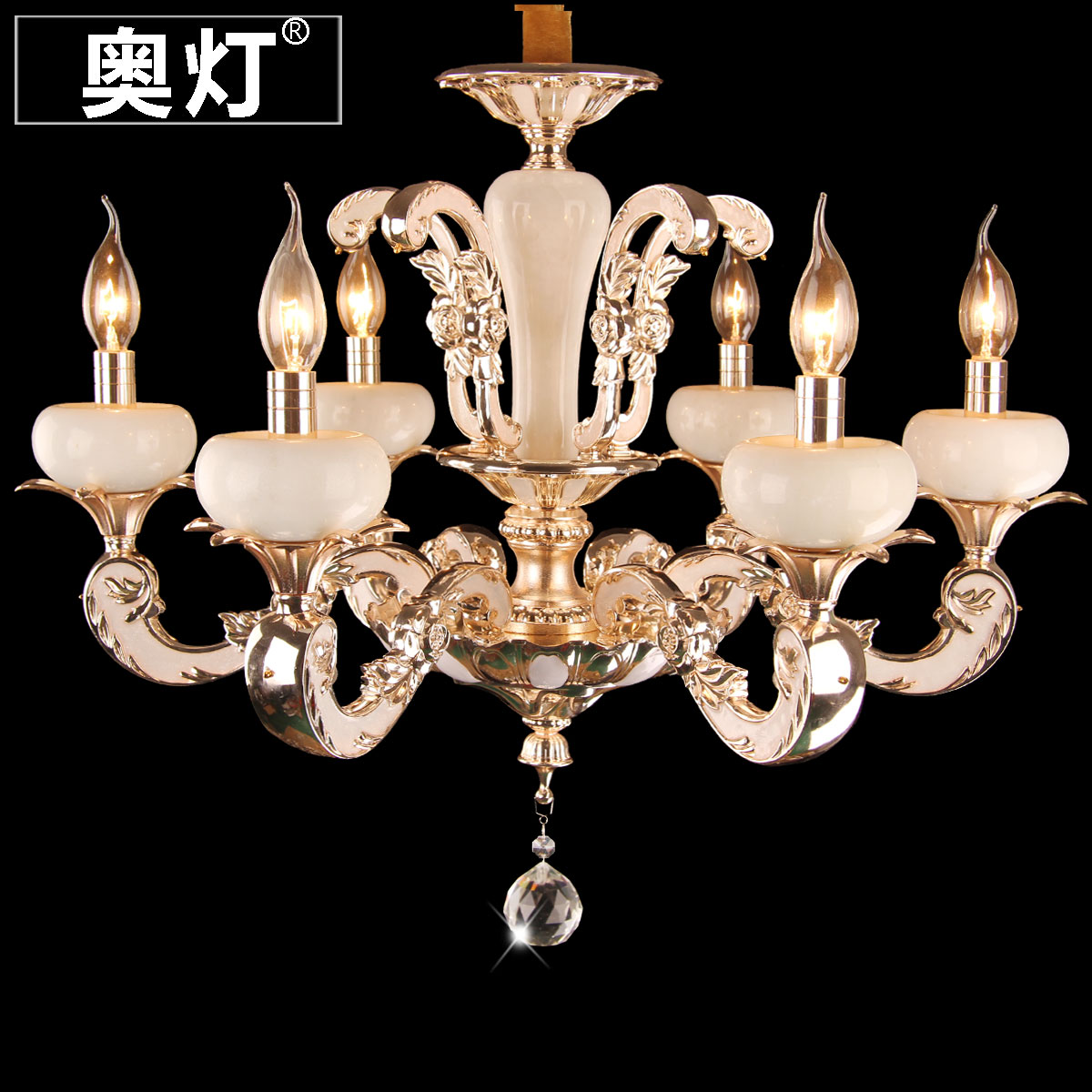 Austrian lamp zinc alloy candle chandelier crystal chandeliers bedroom living room dining drip droplight jade stone 8332