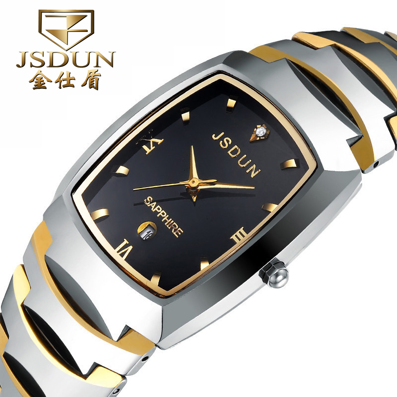 Authentic brand watches jinsdon between gold men's quartz watch fashion male table of tungsten steel lettering student couple tables