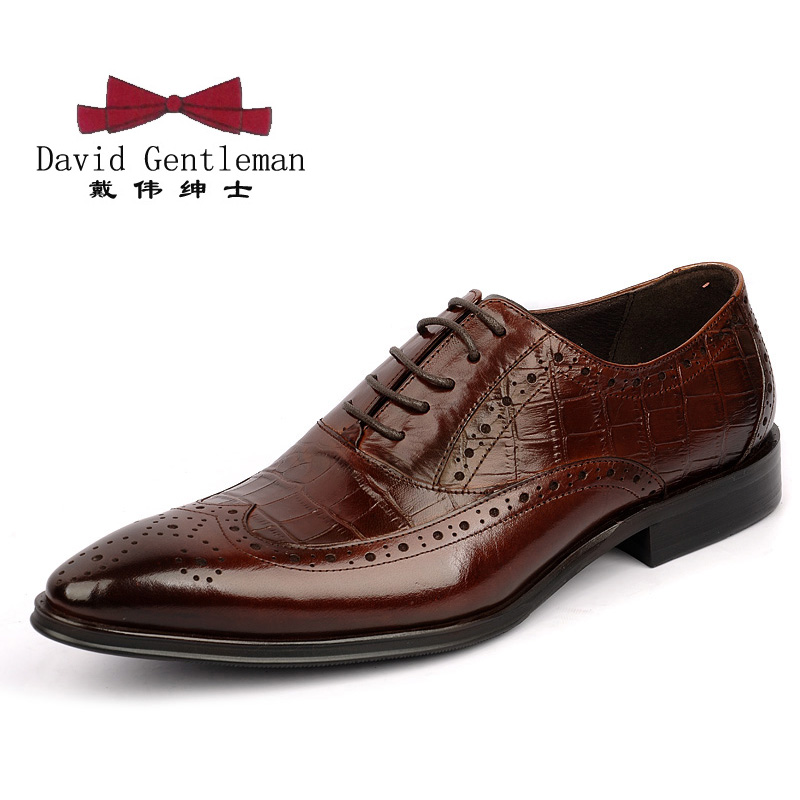Authentic british style carved crocodile pointed shoes trend leather shoes european version of men's business dress shoes