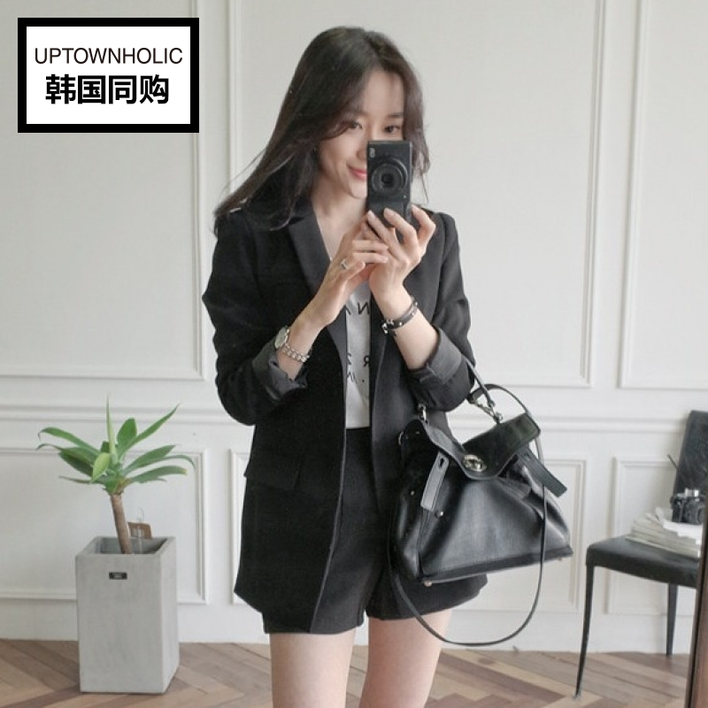 Authentic korean official website authentic uptownholic2016 autumn women's classic lapel one button suit