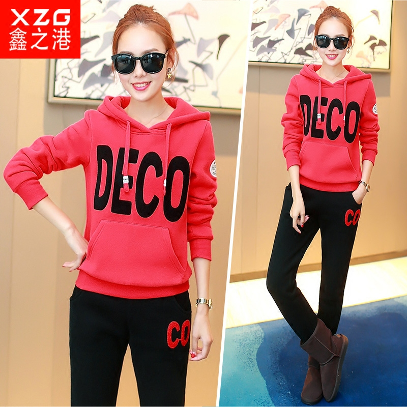 Autumn 2016 korean version of the fall fashion piece suit female tide students in the fall and winter slim was thin sweater sportswear jogging suits