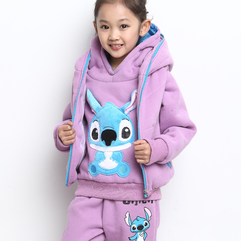 Autumn and winter children's clothing female children's clothing autumn children's clothing suit 2014 new wave of children plus thick velvet parure