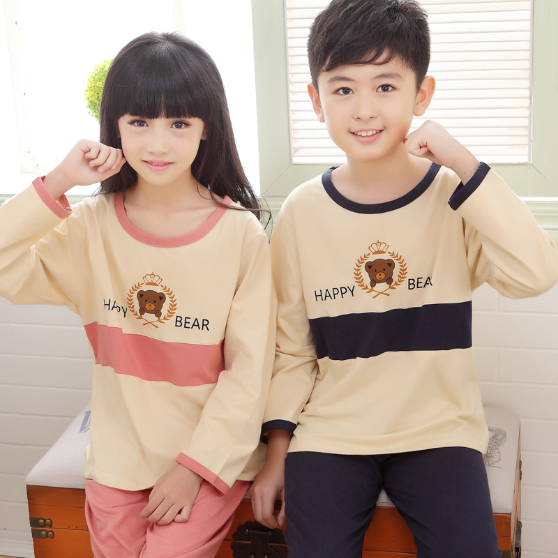 Autumn and winter children's pajamas cotton long sleeve cartoon bear baby boys and girls in child big boy suit tracksuit