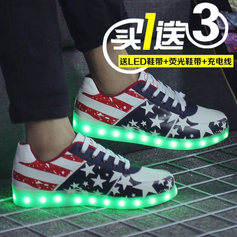 Autumn and winter colorful flashing lights luminous shoes women shoes usb rechargeable led luminous fluorescent shoes shoes student shoes lace students
