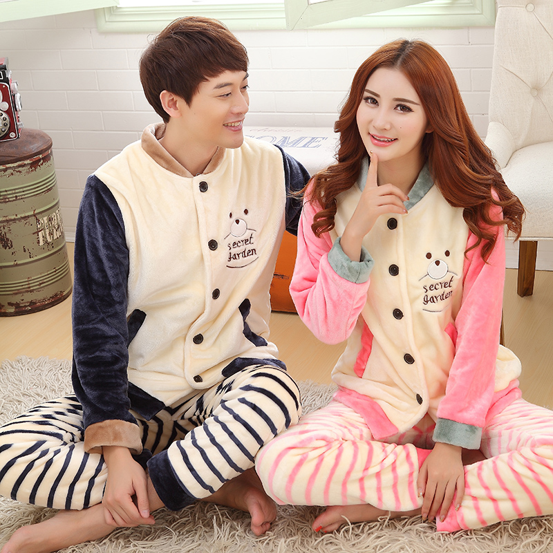 Autumn and winter coral velvet pajamas male ms. couple cute cartoon thick flannel long sleeve pajamas suit tracksuit
