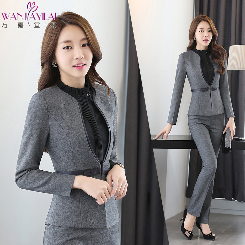 Autumn and winter korean company edition women's wear suits chaps professional suite hotel front desk reception sleeved overalls