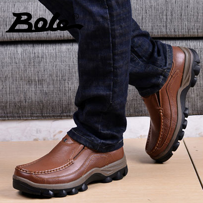 Autumn and winter lace leather men's outdoor shoes bulk of men's sports and leisure shoes men brown leather men's shoes thick crust