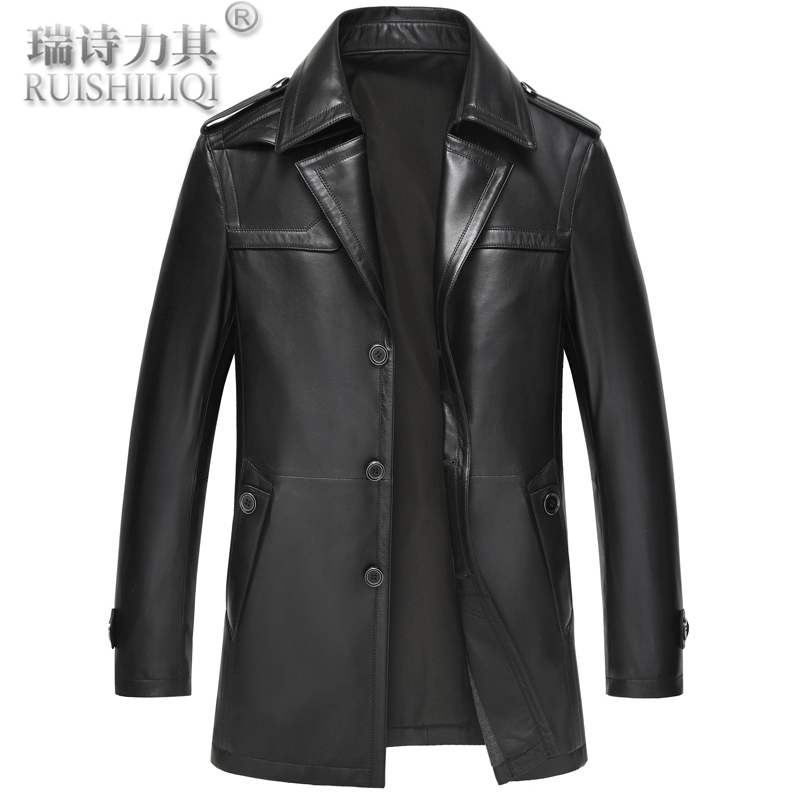 Autumn and winter leather leather men middle-aged men haining sheep skin leather suit haining leather single leather coat