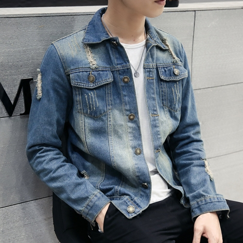 Autumn and winter men's denim jacket denim jacket male youth pomo korean version of the influx of men slim denim jacket denim clothing jacket