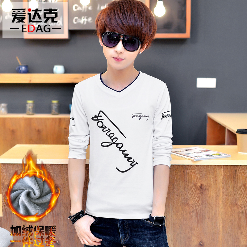 Autumn and winter plus thick velvet teenagers sleeved t-shirt male korean slim v-neck warm qiuyi shirt hit the bottom shirt student