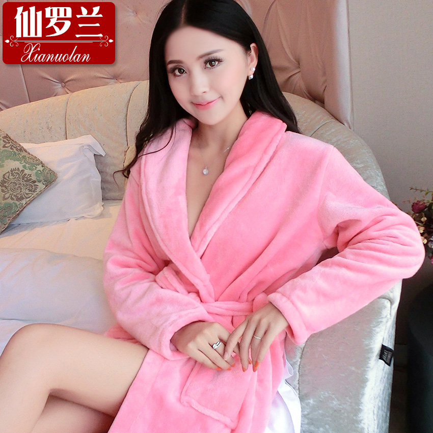 Autumn and winter thick flannel nightgown pajamas female winter long sleeve pajamas female male couple coral velvet bathrobe cute