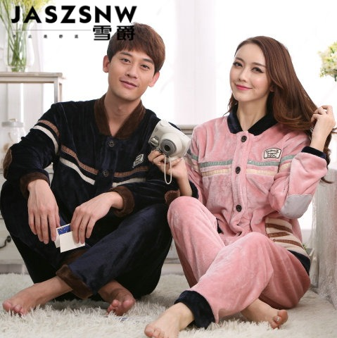 Autumn and winter thick flannel pajamas long sleeve men and women couple pajamas suit tracksuit 2 sets
