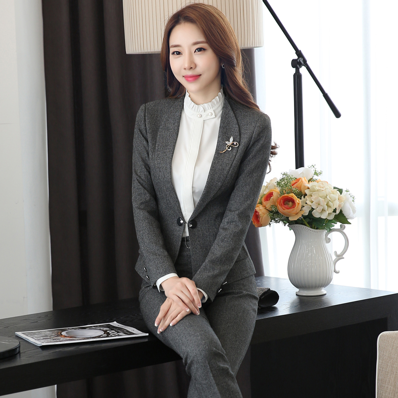 Autumn and winter wear chaps interview dress women long sleeve clericai hotel front desk manager sleeved overalls female