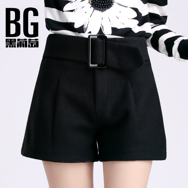 Autumn and winter woolen shorts female 2015 new waist woolen shorts bottoming boots pants big yards wide leg pants thick winter models