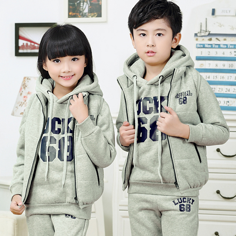 Autumn beaver new hooded sweater leisure sports suit the size of children's warm three sets of boys and girls sportswear