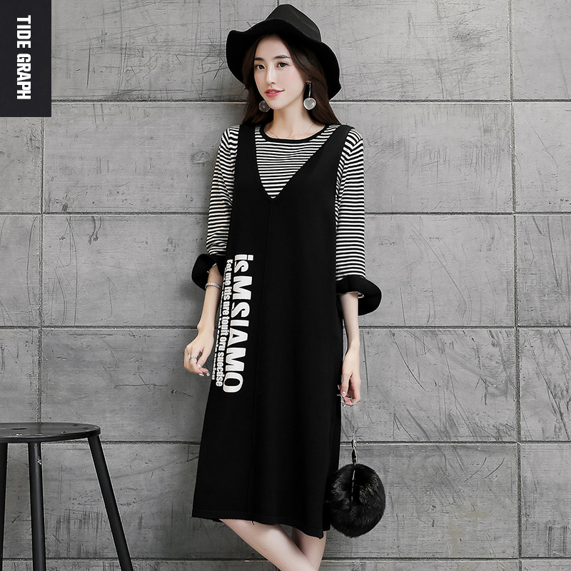 3402aee95783 Get Quotations · Autumn dress suit female 2016 lotus sleeve striped t-shirt  + strap casual black knit
