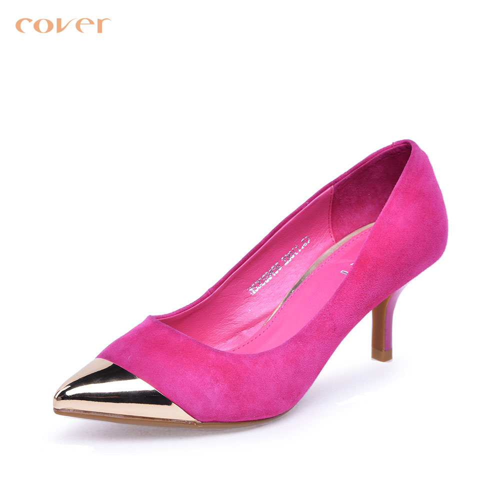 [Autumn fashion] cavan/cover2015 CS59456 cashmere leather metal pointed shallow mouth women shoes in europe and america