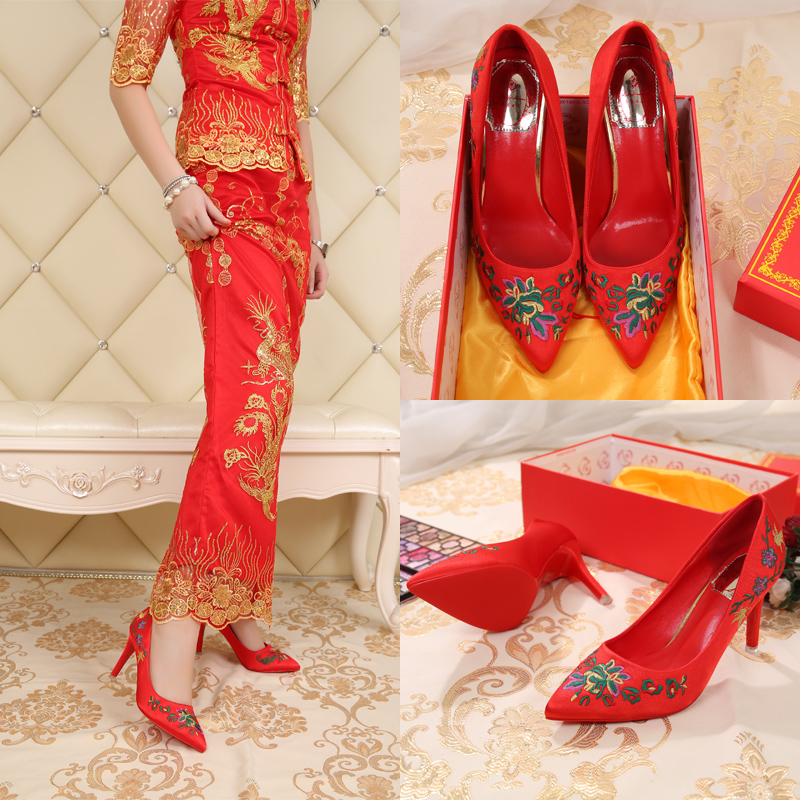 Autumn fine with pointed shoes national wind embroidered chinese flower embroidery cheongsam dress elegant high heels shoes women shoes red wedding