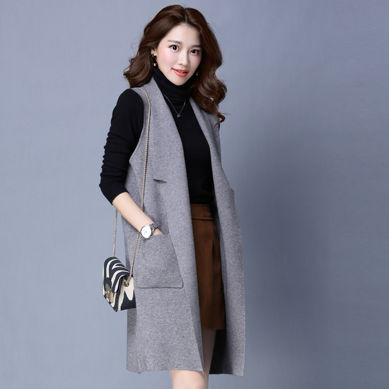 f2fdaa037fd514 Get Quotations · Autumn girls long knit cardigan sweater shawl outside the  ride sleeveless sweater vest sleeveless sweater vest