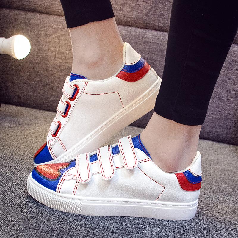 Autumn korean version of velcro canvas shoes female students casual shoes star with money sports shoes shoes shoes tide 2016