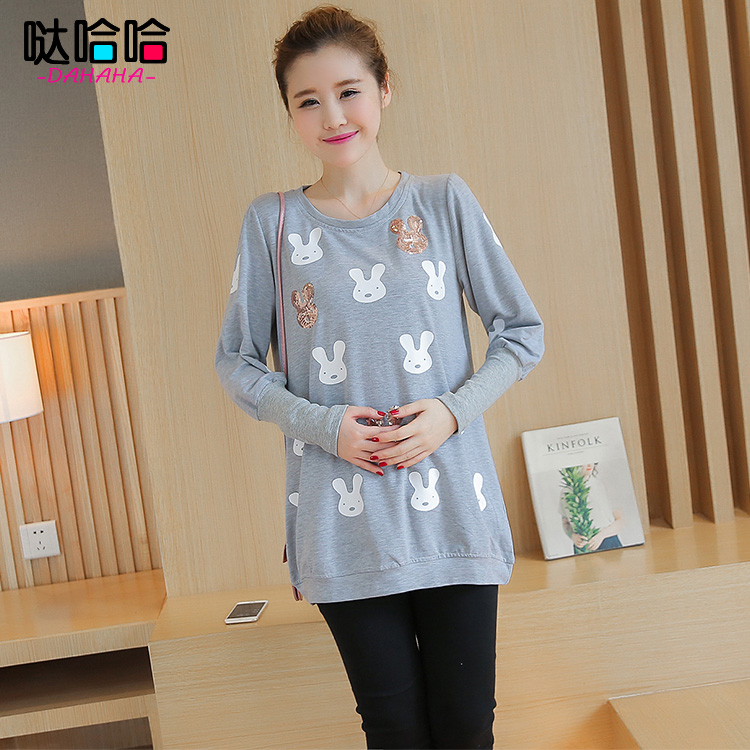 Autumn long sleeve t-shirts for pregnant women 2016 new maternity autumn fashion bottoming shirt loose compassionate cartoon