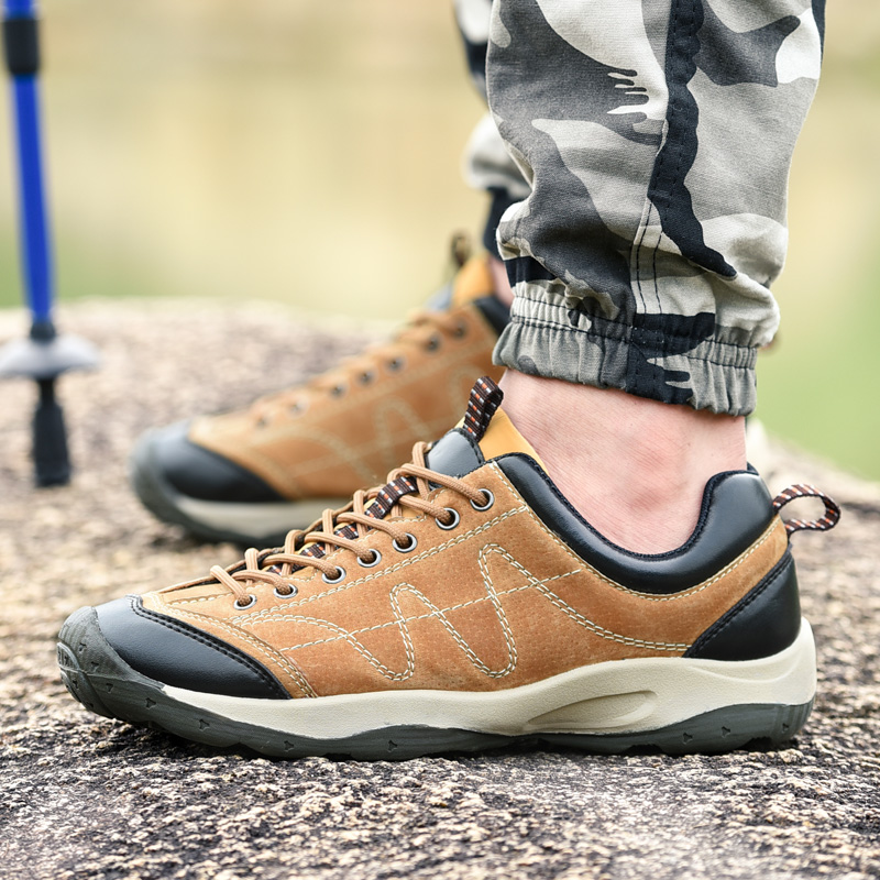 Autumn men's casual outdoor hiking shoes hiking shoes cross country running shoes waterproof leather sports shoes men shoes tide