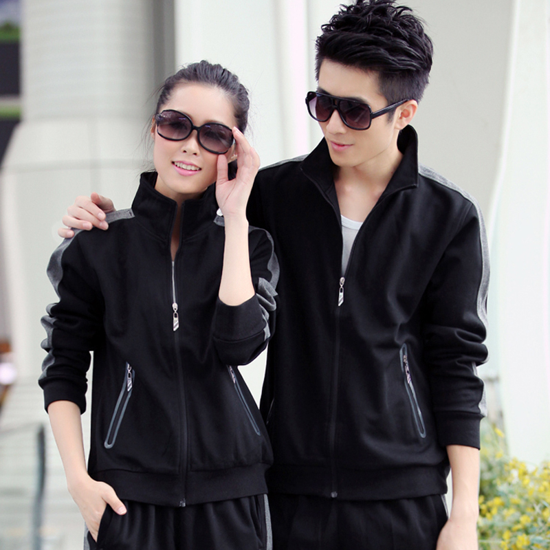 Autumn new collar big yards plus velvet track suit sportswear for men and women genuine couple sleeved clothes free shipping