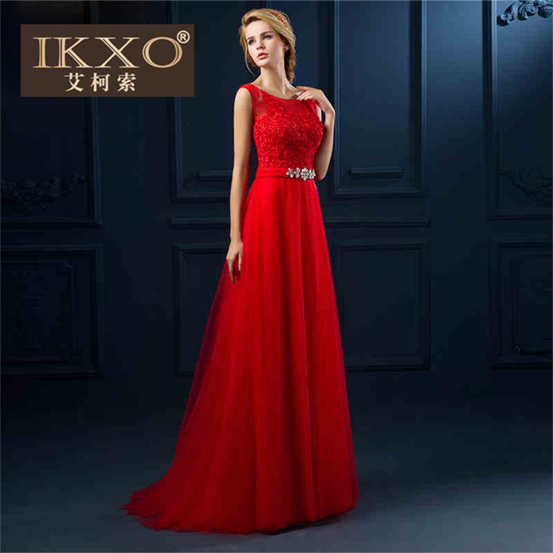Autumn new korean version of the bride wedding dress ikxo2015 crooner red color models lei mesh yarn was thin toast clothing