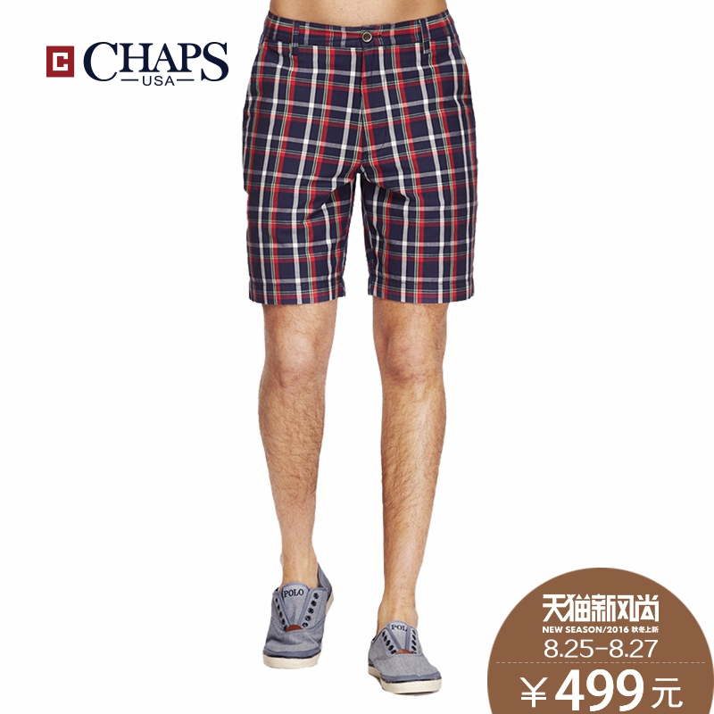 Autumn new men's casual cotton shorts chaps2016 european and american fashion slim classic plaid shorts male