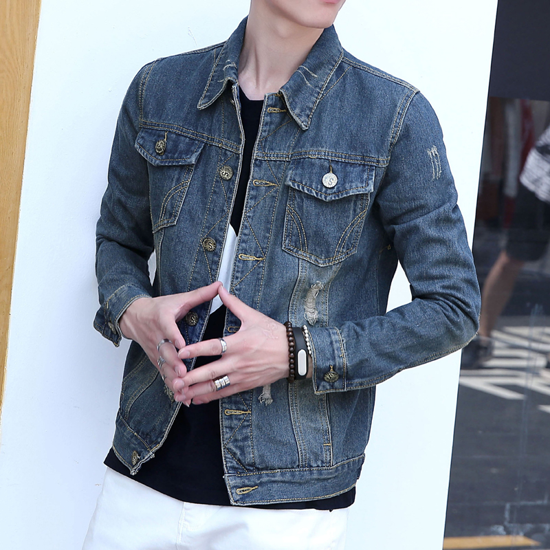 Autumn new men's denim jacket shirt slim teenagers outer wear thin coat jacket student vintage gown