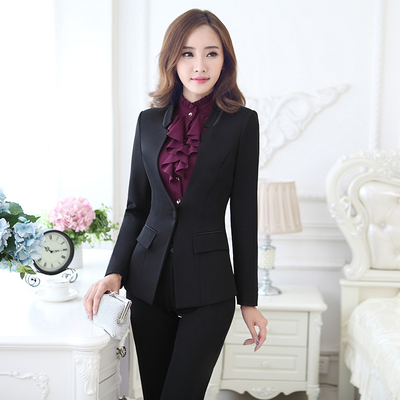 Autumn ol ladies wear skirt suits beautician overalls suit long sleeve ladies dress suit suit overalls