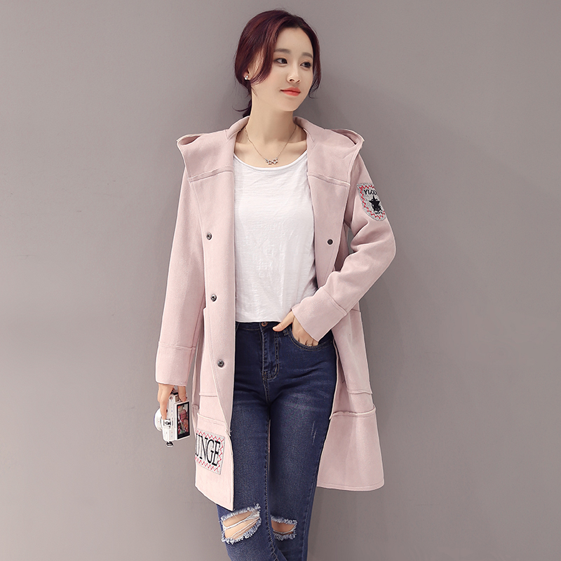 Autumn princess hooded suede coat female 2016 autumn long sleeve windbreaker and long sections korean fashion solid color autumn
