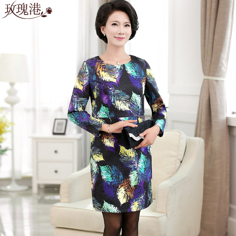 Autumn round neck long sleeve dress middle-aged middle-aged women mother dress middle-aged middle-aged women's spring and autumn bottoming skirt skirts