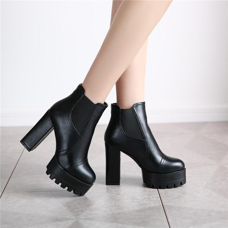 d82307d5b4e7 Get Quotations · Autumn shoes new winter boots thick with super high heels  boots duantong female british style boots