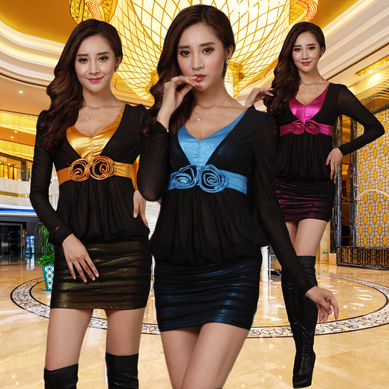 Autumn was thin v-neck dress sexy nightclub ladies long sleeve bathing beauty club foot sauna suits technician
