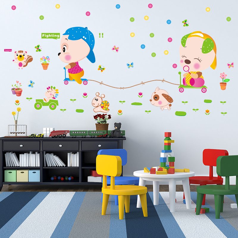Baby bedroom children's room decorative wall stickers kindergarten early childhood cartoon cute animal racing wall sticker