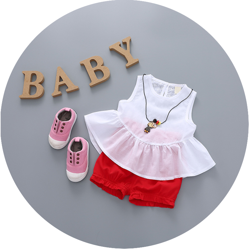 Baby girl summer 0-1-2-3-year-old infant clothes in summer and autumn baby out clothes suit thin section back heart