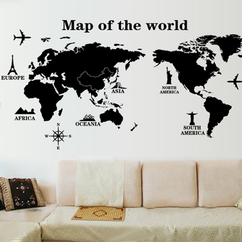 China decorative world map china decorative world map shopping get quotations background wall living room den bedroom wall painting the world map wall stickers personalized decorative stickers gumiabroncs Images