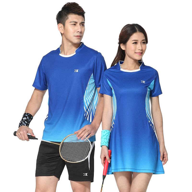 Badminton badminton clothing suits for men and women in summer dress skirt adult short sleeve wicking jersey sportswear xzito