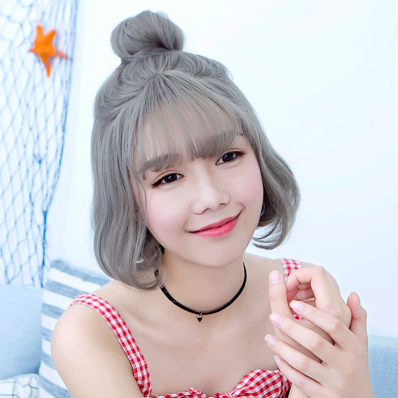 Bai america square wig female short hair short hair pear head bobo head grandmother gray wig realistic fluffy gray asia