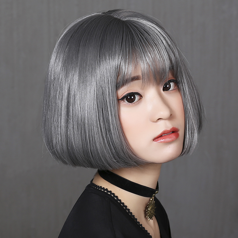 Bai america square wig female short hair wig bobo head wig grandma gray killer is not too cold sets of korean air Frizzed