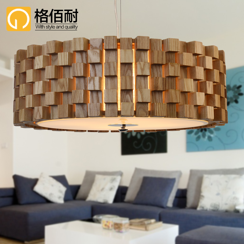 Bai gretl resistant wood chandelier creative living room dining room round the bedroom minimalist chandelier lighting designer woodiness cube
