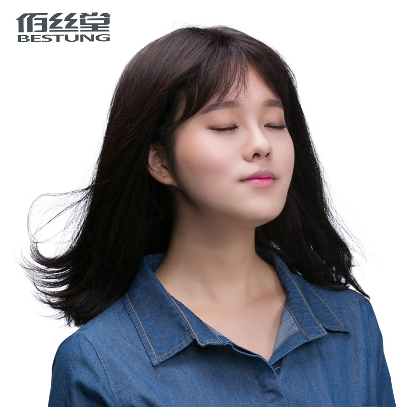 Bai tong silk whole entire top wig woman with long straight hair lob pear head real hair wig natural lifelike korean air bangs